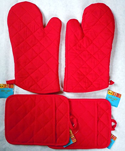 Set Red Holders Oven Mitts product image