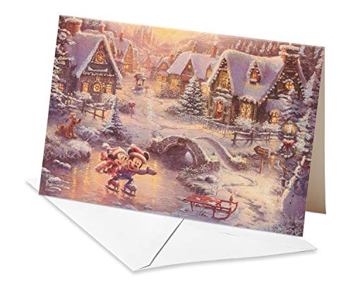 (American Greetings 6027123 Deluxe Thomas Kinkade Mickey Mouse & Minnie Mouse Christmas Boxed Cards and White Envelopes, 14-Count, 12 Minnie)