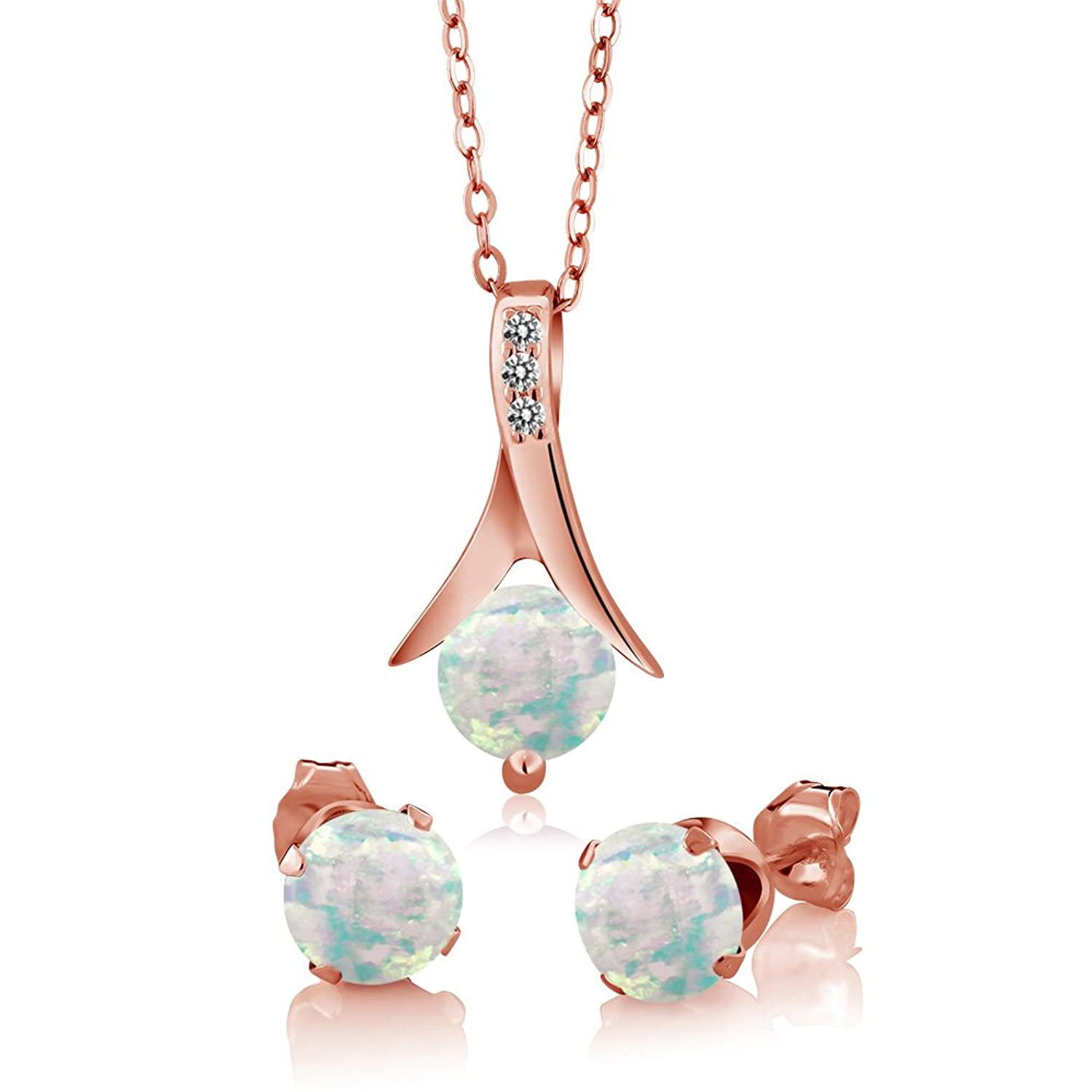 0.95Ct Round Cabochon Simulated Opal White Diamond 18K Rose Gold Plated Silver Jewelry Set