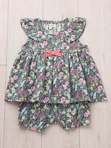 予約予約おとうさんcote cotte(コトコット) ベビー ミルキー スーツ ( チュニック & ブルマ ) 赤ちゃん ベビー服 女の子 セット 80㎝ グレー 花柄