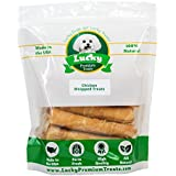Lucky Premium Treats Chicken Wrapped Rawhide Dog Treats by, Gluten Free Dog Treats for Medium Dogs, 12 Chews