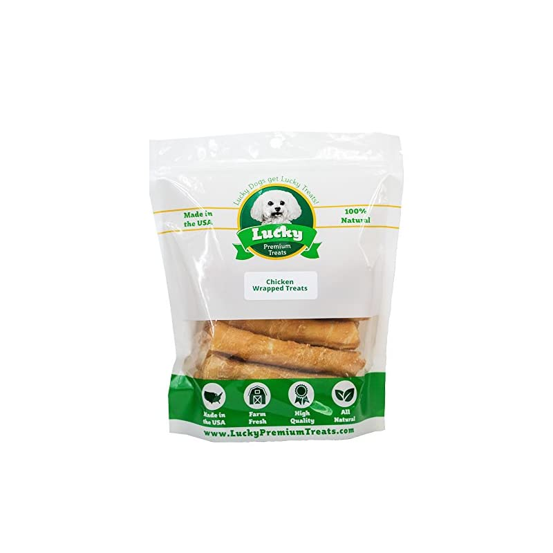 dog supplies online lucky premium treats chicken wrapped rawhide dog treats, all natural gluten free dog treats for medium dogs, 36 chews