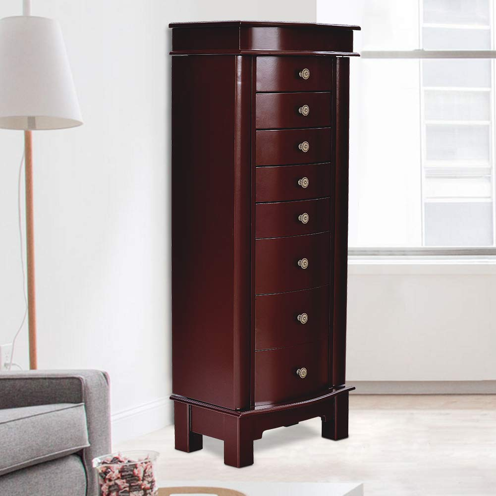 Elpitha Jewelry Cabinet with Mirror Jewelry Armoire Cambered Front Storage Chest Stand Wooden Organizer 8 Drawers,Brown