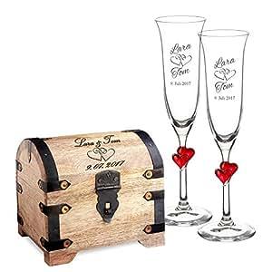 Set de regalo para boda – Cofre de madera clara y 2 copas de champagne – Regalo personalizado para boda – Con [NOMBRES] y [FECHAS] – Con grabado de Corazones – Regalos originales para bodas – Regalos para parejas