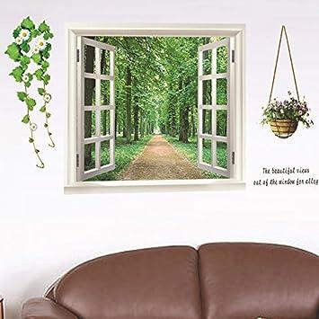d falsa ventana paisaje rboles flores pared adhesivo pvc decoracin de hogar papel vinilo adhesivo casa