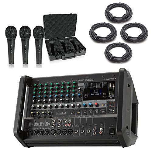 Yamaha EMX7 12-Input Stereo Powered Mixer Bundled with Samson Q63P Dynamic Supercardioid Handheld Mic (3-Pack) and 4 x 20-Foot XLR Cables ()