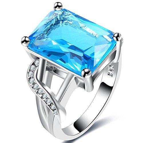 14k White Gold Large Square Emerald Cut Blue Topaz Ring,Vintage Tiny CZ Square Ring Spilt Shank