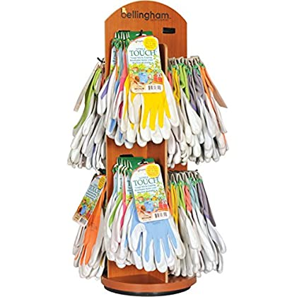 Image of LFS GLOVE SRNTAC 001497 Bellingham Nitrile Touch Wooden Carousel Display, 72 Piece Anti-Vibration Gloves