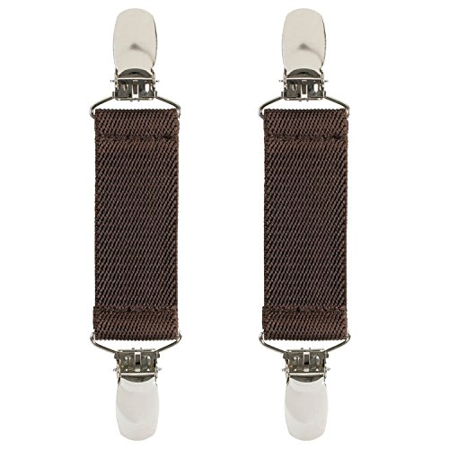 "Hold'Em Boot Straps Elastic EXTRA STRONG METAL CLIP Made in USA Comfortable and Easy to Use Keeping Pants Smoothly and Nicely Tucked in Boots - 4"" Inch -Brown"