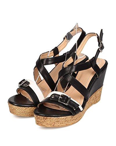 Betani Eh54 Dames Kunstleer Two-tone Open Teen Strappy Houten Platform Sleehak Sandaal - Zwart