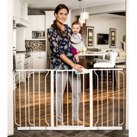 Regalo 58-Inch Extra WideSpan Walk Through Baby Gate, Pressure Mount with 3 Included Extension -