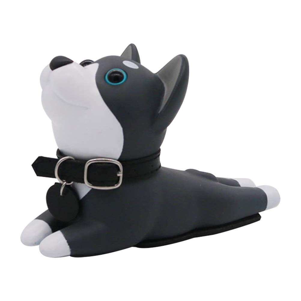 Vosarea Door Stopper with Dog Shape Non Slip Door Wedge Door Holder Stoper for Kids Children Finger Protector Black and White
