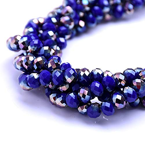 BeadsOne 10mm - 72 pcs - Glass Rondelle Faceted Beads Cobalt Blue Brown Multicolored for jewerly Making findings Handmade jewerly briolette Loose Beads Spacer Donut Faceted Top Quality 5040 (D104) ()