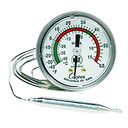 Cooper-Atkins 6742-19-3 Vapor Tension Panel Thermometer with U-Bracket on Flange, NSF Certified, -40/60°F Temperature Range