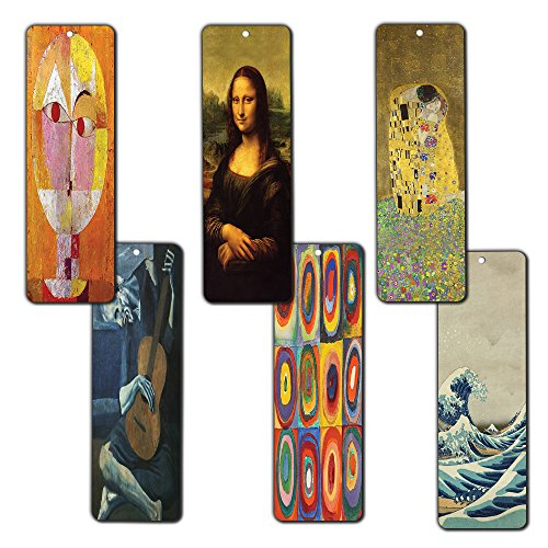 Creanoso Famous Art Bookmarks (12-Pack) - Pablo Picasso, Gustav Klimt, Wassily Kandinsky, Leonardo da Vinci, Paul Klee, Katsushika Hokusai Painting Prints - Bookmarks for Books - Wall Decor