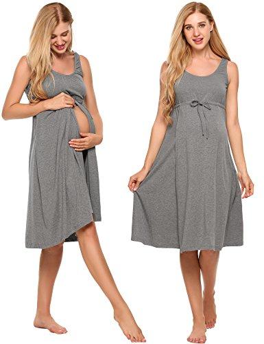 Cotton Maternity Clothes (Ekouaer Nursing Nightgown Womens Sleeveless Maternity Hospital Breastfeeding Nightdress Grey M)