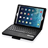 POWERADD Apple iPad Pro 9.7 Keyboard+Leather Case, Folio/Detachable Smart Case/Cover W/Removable Wireless Keyboard, Built-in Stand for iPad Air 1/2, iPad Pro 9.7 inch 2016/2017/2018 - Black