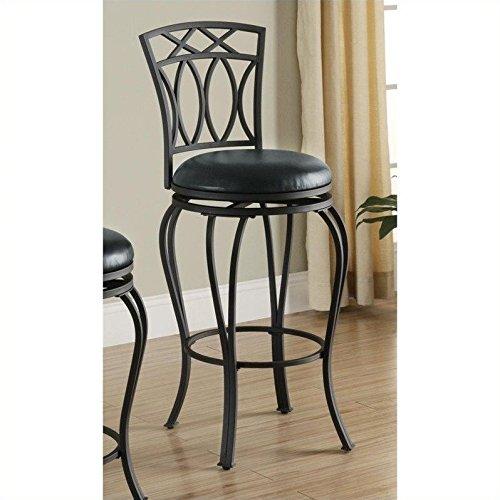 Coaster Home Furnishings Casual Bar Stool, 29-Inch, Black/Black - French Back Bar Stool