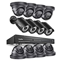 SANNCE 16-Channel DVR Recoder 1080P HD Security Camera System (4) Bullet Camera and (8) Dome Cameras Motion Detection Alarm & Remote View 100ft Night Vision Outdoor Surveillance Systems--No HDD