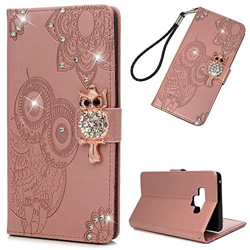 Galaxy Note 9 Case, Glitter Diamonds Owls Totem Wallet Case PU Leather Magnetic Flip Cover Shock Resistant Soft TPU Protective Bumper Card Slots Kickstand Lanyard for Samsung Galaxy Note 9 Rose Gold (Hose Air Polyurethane Premium Quality)