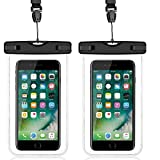 "Waterproof case, YQWINE Waterproof Phone Case For Apple iPhone 7 7Plus, 6S 6, 6S Plus, Samsung Galaxy S8, S7, S6 Note 5 4, Universal Phone up to 6.0"" Diagonal, 2 Pack, Black"