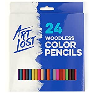 Woodless Colored Pencils 24-Colors - Pre-sharpened - Set of 24