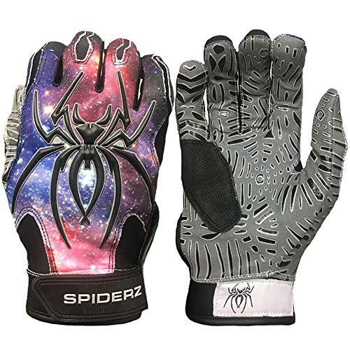 (Spiderz Adult Hybrid Batting Glove Silicone Web Palm (Galaxy W/New Web Tac Grip, Adult)