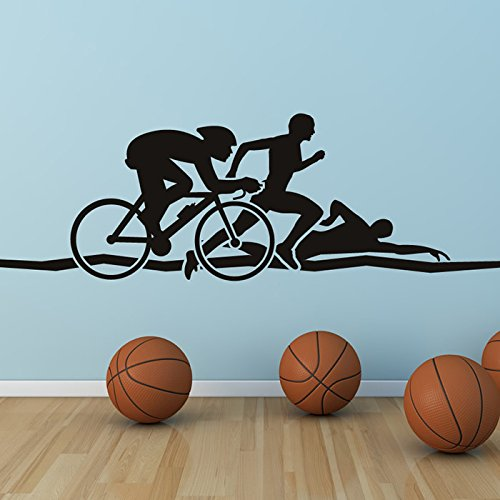 Triathlon Run Swim Cycle Athletics Wall Stickers Gym Home Decor Art Decals available in 5 Sizes and 25 colors Large - Cycle Run Swim