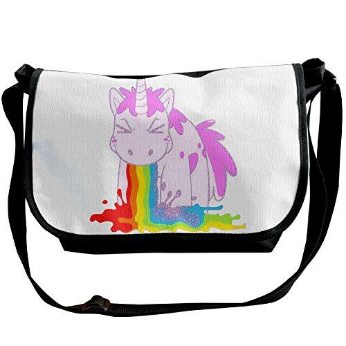 Puke Handbags Black Capacity I Unicorn Shoulder Canvas Rainbows Bags Hobo Fashion Bags Handbags Tote Women Large Black Aa5a1nx