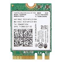 7260NGW Intel® Dual Band Wireless-AC 7260 802.11ac, Dual Band, 2x2 Wi-Fi + Bluetooth 4.0