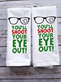 Funny Holiday Kitchen Towels Christmas Story Gift Set Shoot Eye Out Bundle