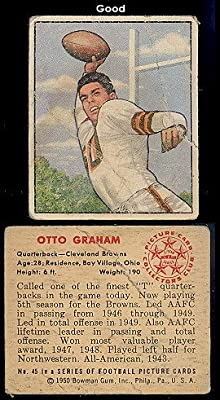 1950 Bowman Regular (Football) Card# 45 Otto Graham of the Cleveland Browns Good Condition