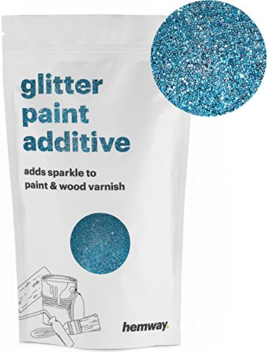 Hemway (Turquoise) Glitter Paint Additive Crystals 100g/3.5oz for Acrylic Latex Emulsion Paint - Interior Exterior Wall, Ceiling, Wood, Varnish, Dead flat, Matte, Gloss, Satin, Silk