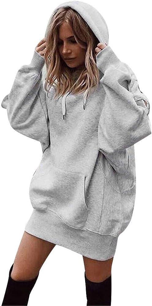 Sudaderas con Capucha Mujer Largas Fossen Invierno Tumblr Sudaderas Anchas Bolsillo Camiseta de Manga Larga Blusa Tops Pullovers en Oferta y Marca