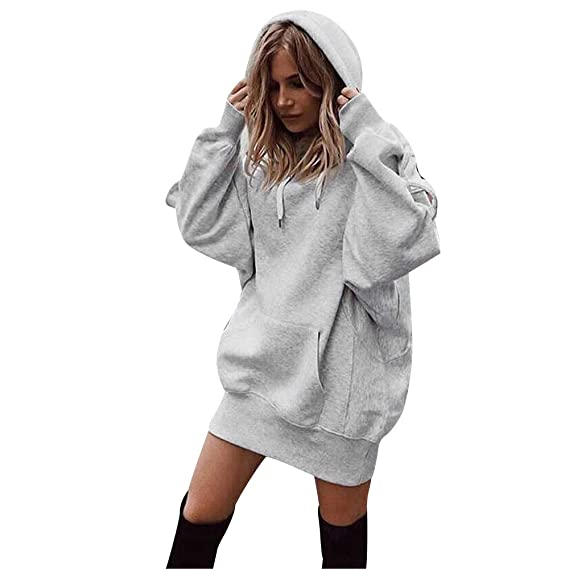 Fitfulvan Women Hoodie Fashion Solid Long Clothes Pullover Coat Sweatshirt with Pocket at Amazon Womens Clothing store: