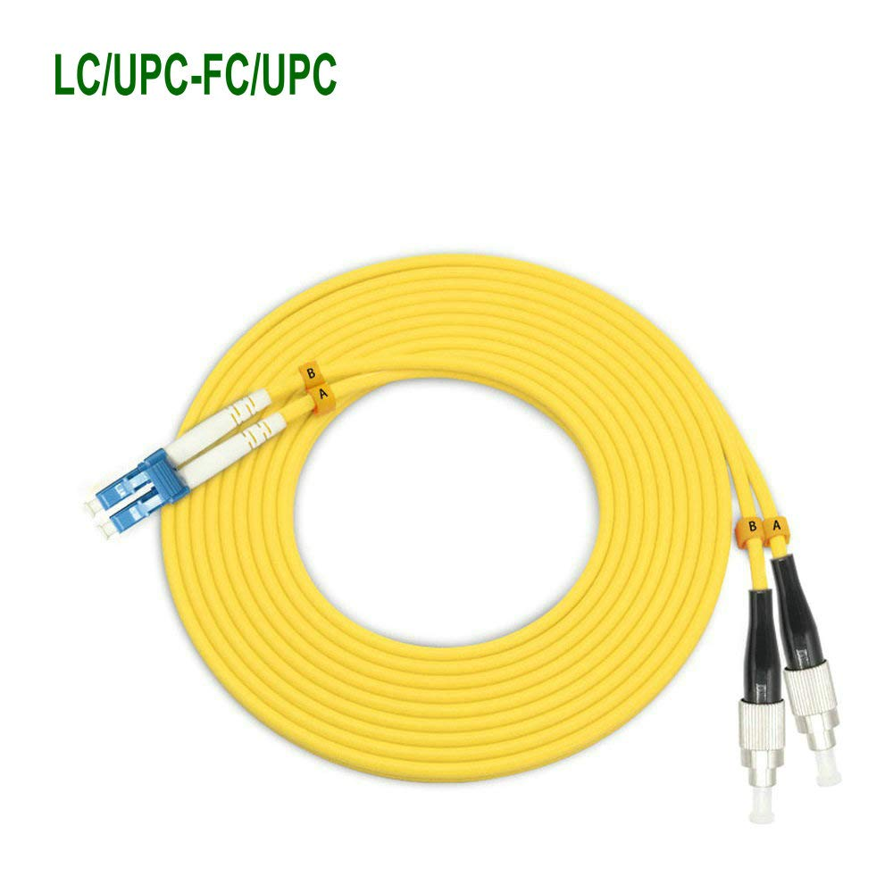 EB-LINK 100M LC to FC Fiber Optic Patch Cord Jumper Cable Duplex Single-Mode 9/125 OS1 OS2 LC-FC,100Meters 328ft Yellow