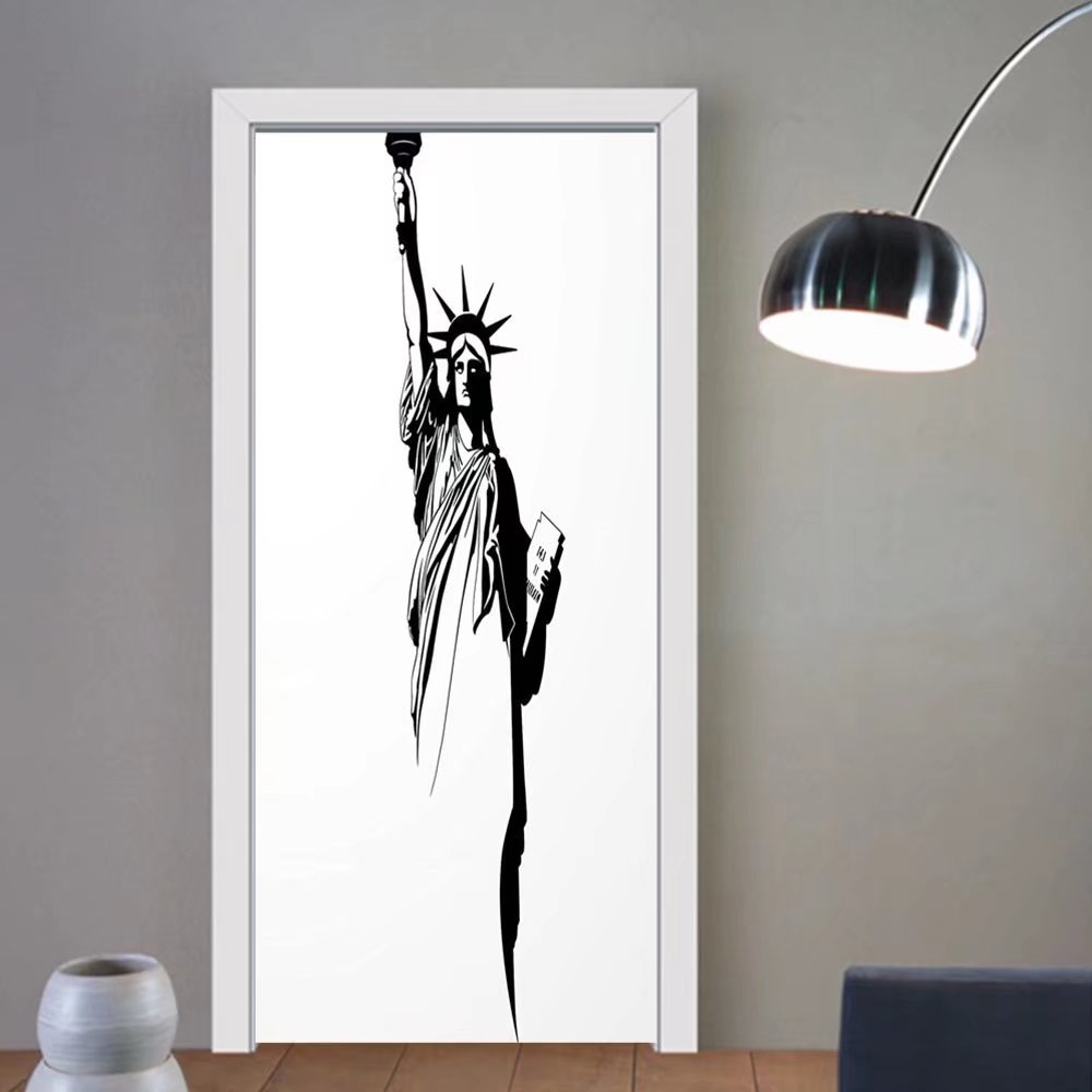 Gzhihine custom made 3d door stickers Modern The Statue of Liberty America USA Historical Landmark Freedom Icon Black and White Black White For Room Decor 30x79 by Gzhihine