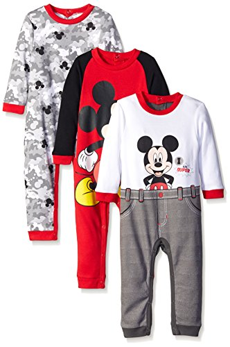 (Disney Baby Mickey 3 Pack Coveralls, Red, 6-9)
