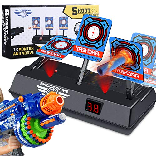 Magicfun Electric Scoring Auto Reset Shooting Digital Target for Nerf Guns Digital Target with Light & Shooting Sound Perfect Solo or Team Play (Hovering Target Shooting Game)