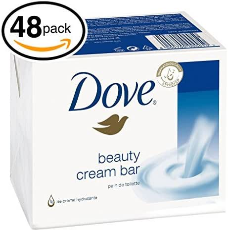 (PACK OF 48 BARS) Dove Beauty Soap Bar: WHITE. Protects Your Skin's Natural Moisture. 25% MOISTURIZING LOTION & CREAM! Great for Hands, Face & Body! (48 Bars, 3.5oz Each Bar)