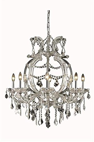 (Karla Chrome Traditional 8-Light Hanging Chandelier Swarovski Spectra crystal in Crystal (Clear)-2380D28C-SA--28.5