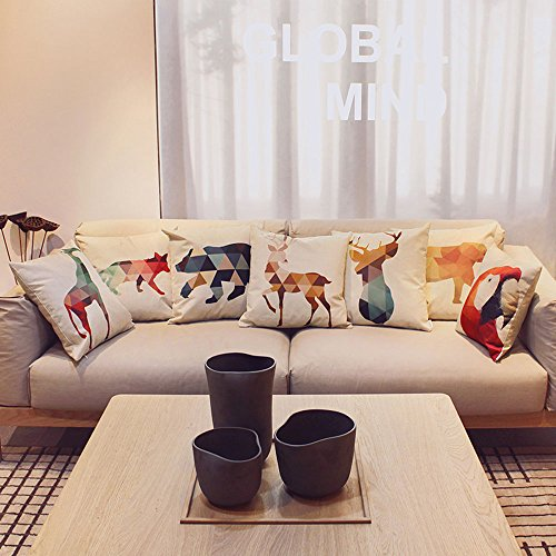 HIPPIH 4 Packs Square Pillow Cover - 16 X 16 Inch Decorative Throw Pillowcase, Geometric Animals by HIPPIH (Image #6)