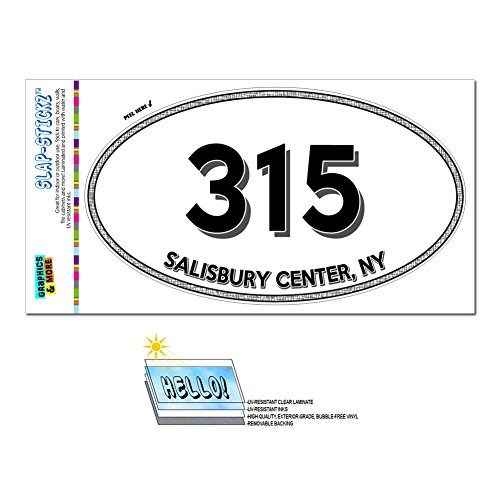 Graphics and More Area Code Oval Window Laminated Sticker 315 New York NY Rome - West Stockholm - Salisbury - Salisbury Centre