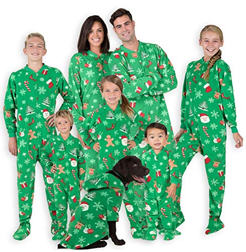 Footed Pajamas - Family Matching Green Christmas Onesies for Boys, Girls, Men, Women and Pets (Kids - XLarge (Fits 5'0-5'3