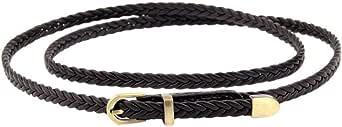 YiyiLai Women PU Braid Vintage Adjustable Skinny Buckle Waistband Belt