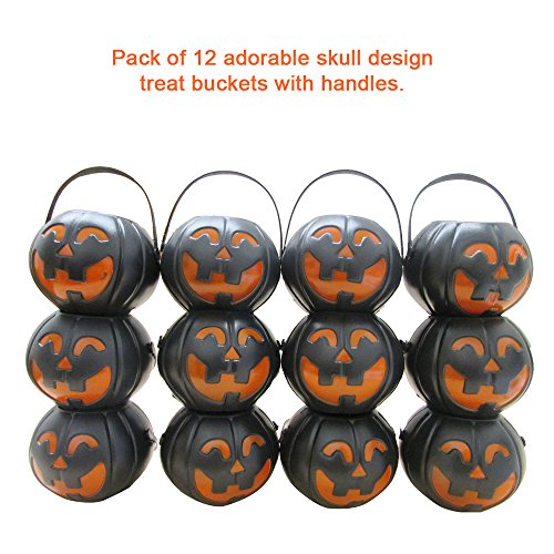 12 Treat Yourself Realistic Pumpkin Sweet Holder Jar with Handles - Candy Goody 2.5 Inches Mini Halloween Memorable Bag ()