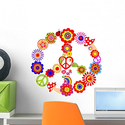 Wallmonkeys Childish Peace Flower Symbol Wall Decal Peel and Stick Decals for Girls (18 in H x 18 in W) WM376382]()