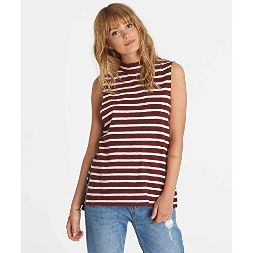 Striped Open Neck Shirt (Billabong Junior's Your Eyes Striped Mock Neck Muscle Tee, Mystic Maroon, M)