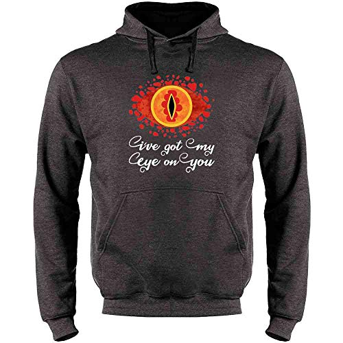 I've Got My Eye On You Funny Geeky Fantasy Heather Charcoal Gray M Mens Fleece Hoodie Sweatshirt (Precious Ring Lord Of The Rings Quote)