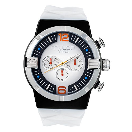 Mulco Two Dome Swiss Quartz Chronograph Movement Watch | Premium Sundial Display with Rose Gold Accents | Silicone Watch Band | Water Resistant Stainless Steel Watch (White/Black) - Golf Sundial